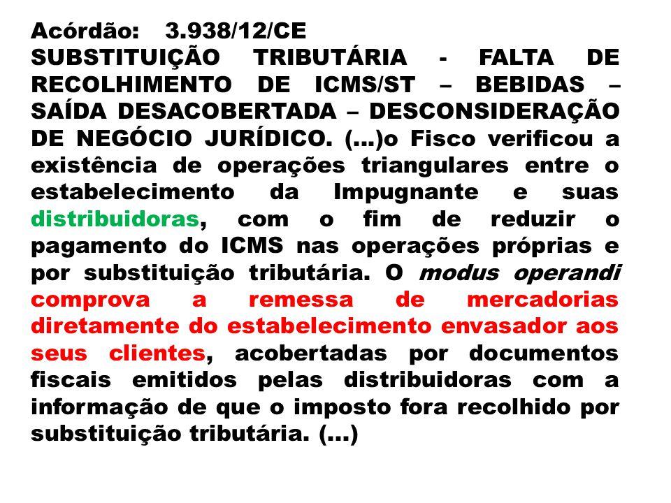 Acórdão:3.938/12/CE SUBSTITUIÇÃO TRIBUTÁRIA - FALTA DE RECOLHIMENTO DE ICMS/ST – BEBIDAS – SAÍDA DESACOBERTADA – DESCONSIDERAÇÃO DE NEGÓCIO JURÍDICO.