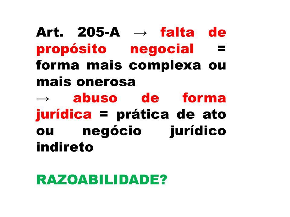 Art. 205-A falta de propósito negocial = forma mais complexa ou mais onerosa abuso de forma jurídica = prática de ato ou negócio jurídico indireto RAZ