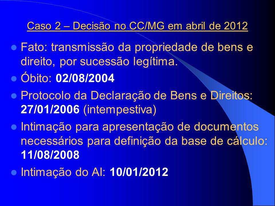 Caso 2 – Decisão no CC/MG em abril de 2012 Fato: transmissão da propriedade de bens e direito, por sucessão legítima.