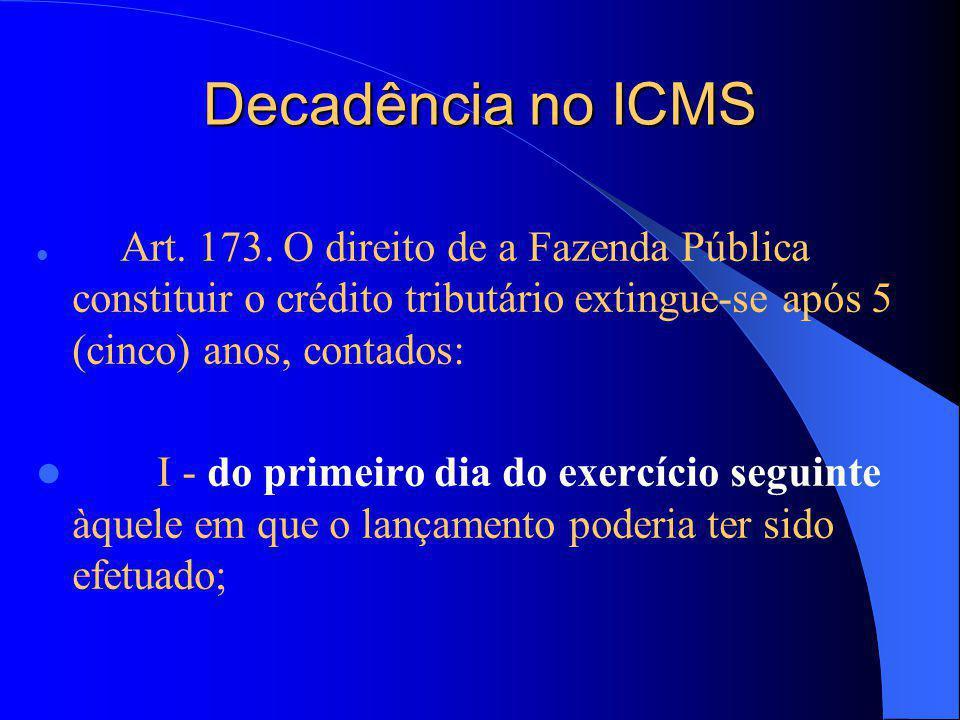 Decadência no ICMS Art.173.