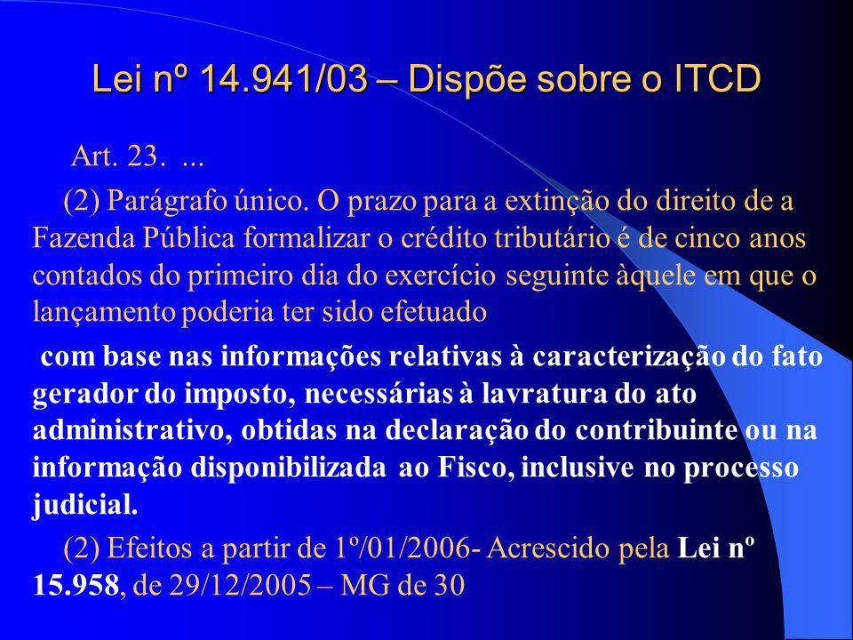 Lei nº 14.941/03 – Dispõe sobre o ITCD Art.23....