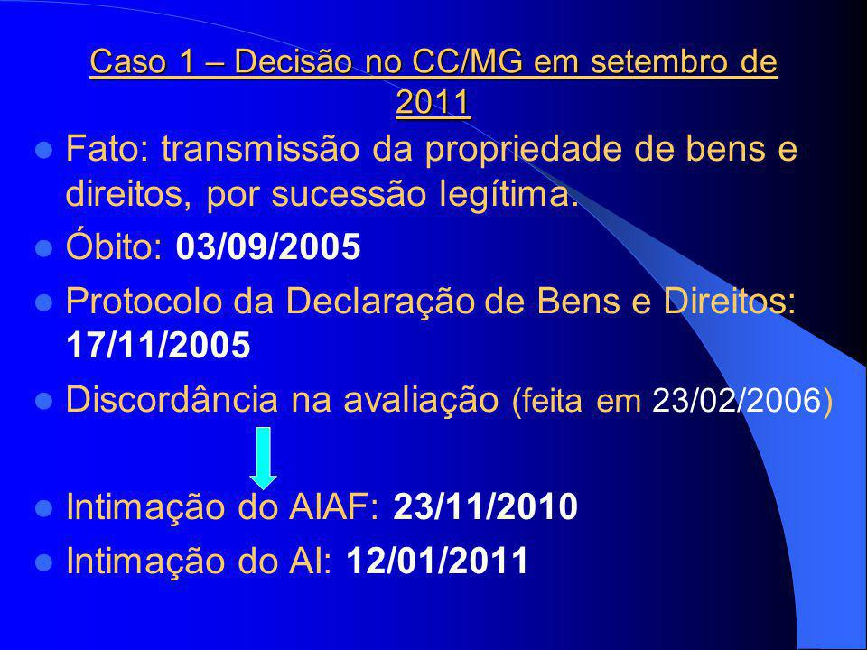 Caso 1 – Decisão no CC/MG em setembro de 2011 Fato: transmissão da propriedade de bens e direitos, por sucessão legítima.