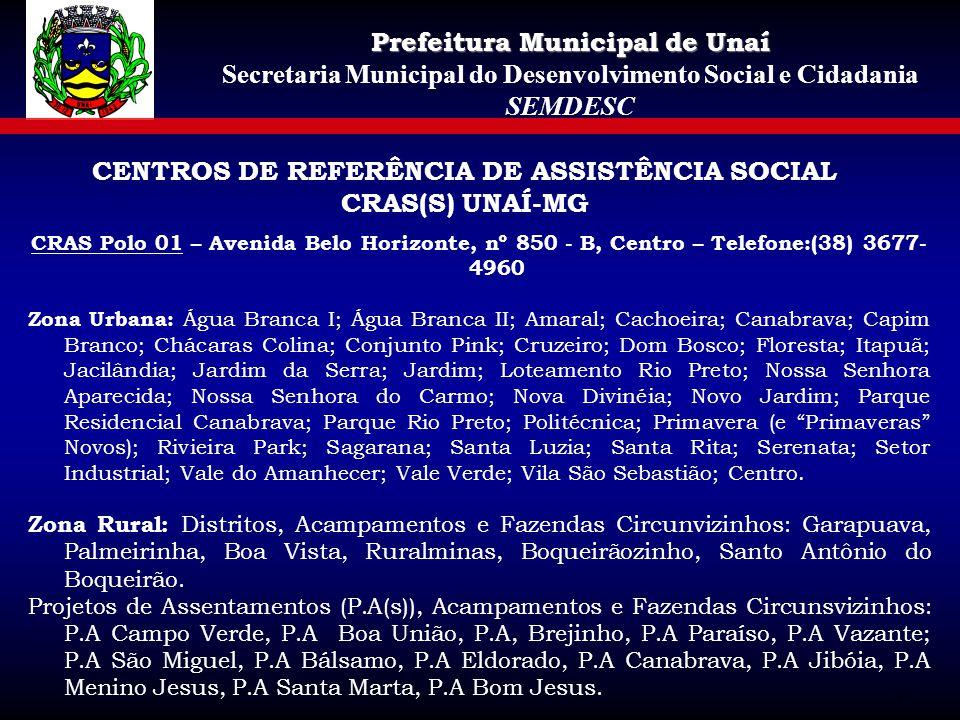 CENTROS DE REFERÊNCIA DE ASSISTÊNCIA SOCIAL CRAS(S) UNAÍ-MG CRAS Polo 01 – Avenida Belo Horizonte, nº 850 - B, Centro – Telefone:(38) 3677- 4960 Zona