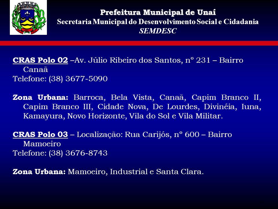 CRAS Polo 02 –Av. Júlio Ribeiro dos Santos, nº 231 – Bairro Canaã Telefone: (38) 3677-5090 Zona Urbana: Barroca, Bela Vista, Canaã, Capim Branco II, C