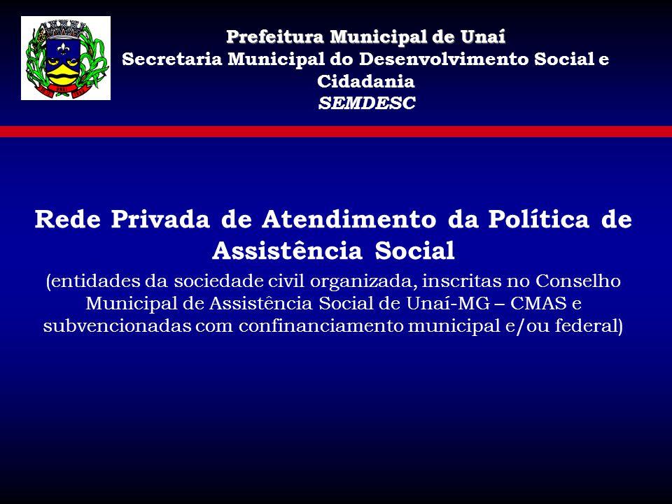 Prefeitura Municipal de Unaí Secretaria Municipal do Desenvolvimento Social e Cidadania SEMDESC Rede Privada de Atendimento da Política de Assistência