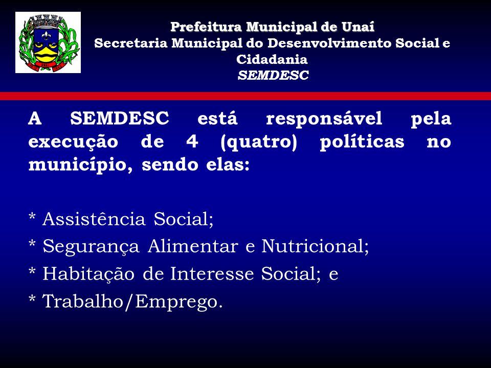 A SEMDESC está responsável pela execução de 4 (quatro) políticas no município, sendo elas: * Assistência Social; * Segurança Alimentar e Nutricional;