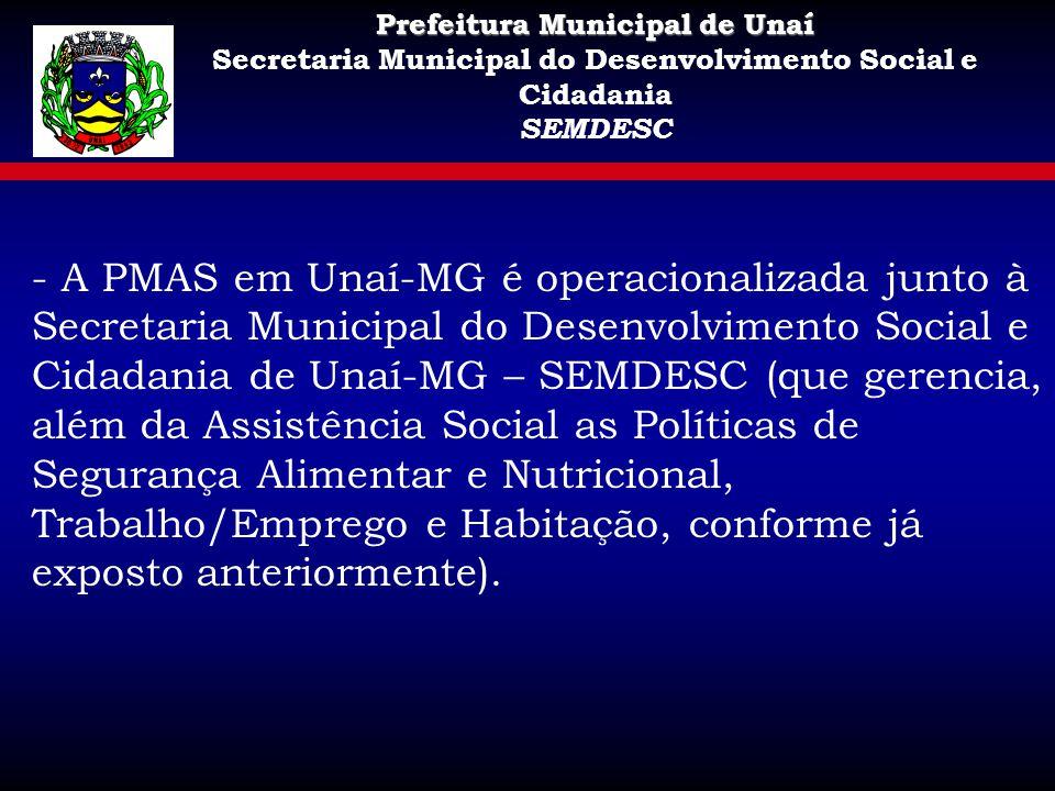 Prefeitura Municipal de Unaí Secretaria Municipal do Desenvolvimento Social e Cidadania SEMDESC - A PMAS em Unaí-MG é operacionalizada junto à Secreta