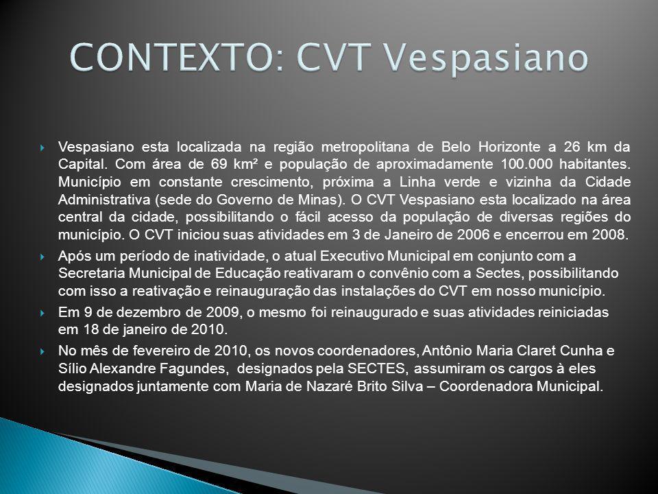 Vespasiano esta localizada na região metropolitana de Belo Horizonte a 26 km da Capital. Com área de 69 km² e população de aproximadamente 100.000 hab