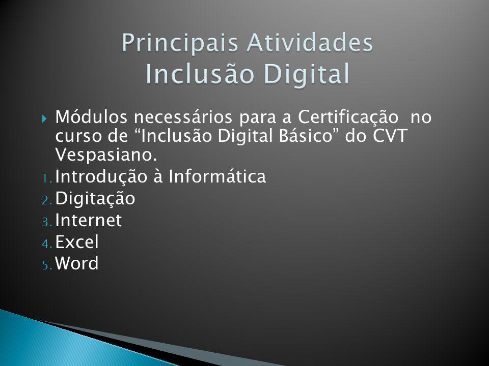 Módulos necessários para a Certificação no curso de Inclusão Digital Básico do CVT Vespasiano. 1. Introdução à Informática 2. Digitação 3. Internet 4.