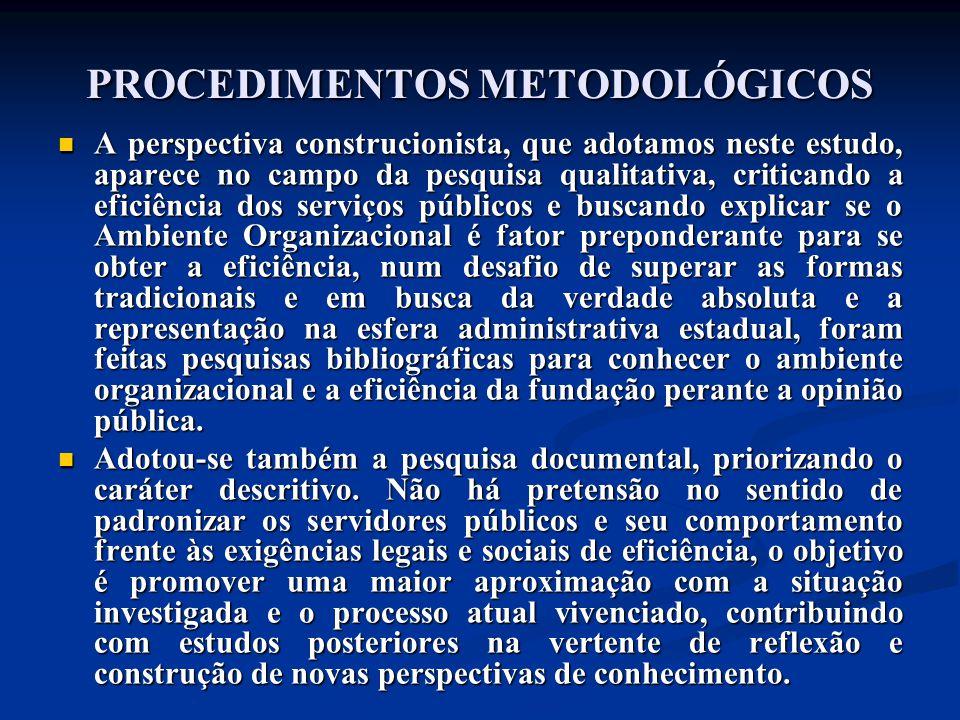 PROCEDIMENTOS METODOLÓGICOS A perspectiva construcionista, que adotamos neste estudo, aparece no campo da pesquisa qualitativa, criticando a eficiênci