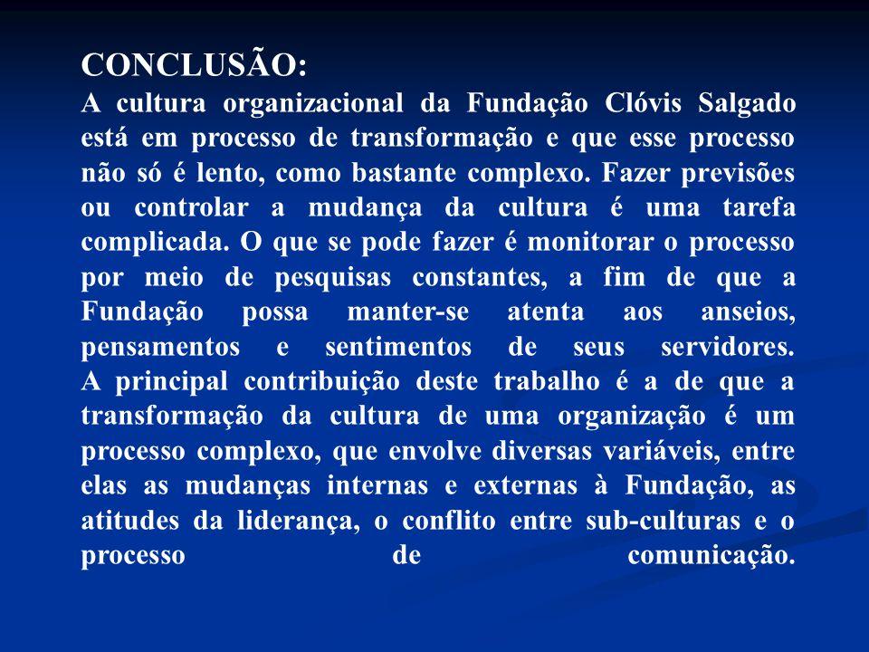 CONCLUSÃO: A cultura organizacional da Fundação Clóvis Salgado está em processo de transformação e que esse processo não só é lento, como bastante com