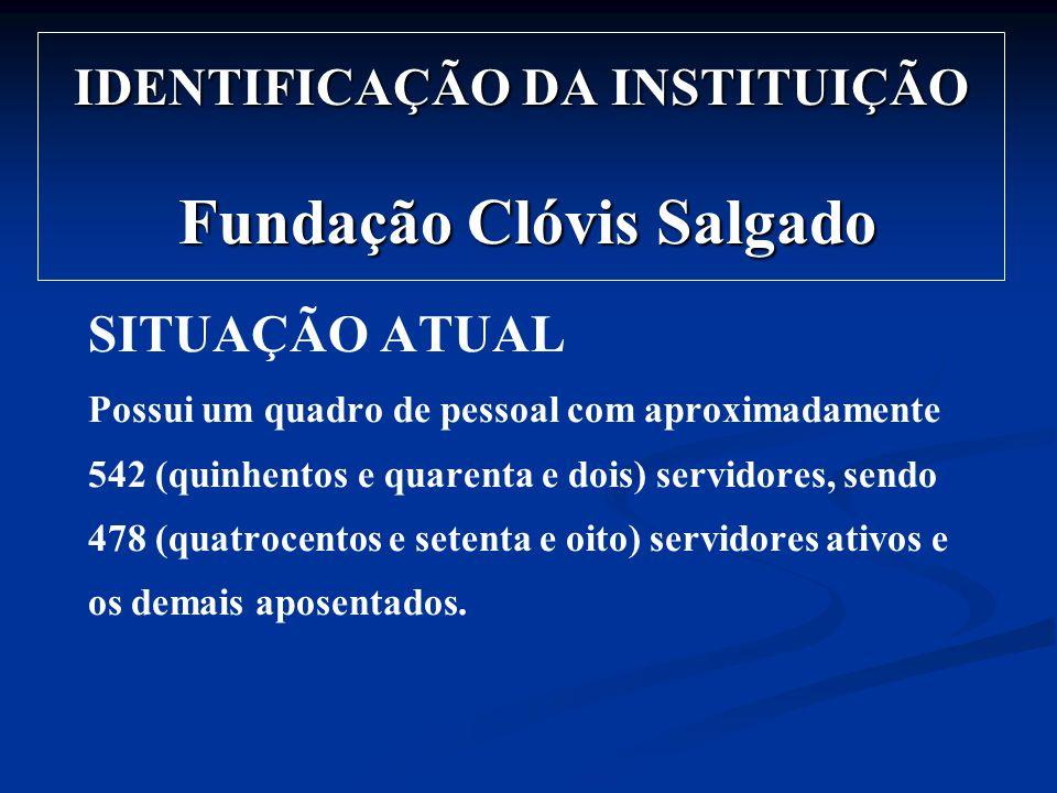 IDENTIFICAÇÃO DA INSTITUIÇÃO Fundação Clóvis Salgado SITUAÇÃO ATUAL Possui um quadro de pessoal com aproximadamente 542 (quinhentos e quarenta e dois)
