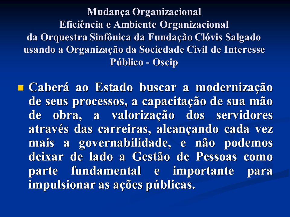 Mudança Organizacional Eficiência e Ambiente Organizacional da Orquestra Sinfônica da Fundação Clóvis Salgado usando a Organização da Sociedade Civil