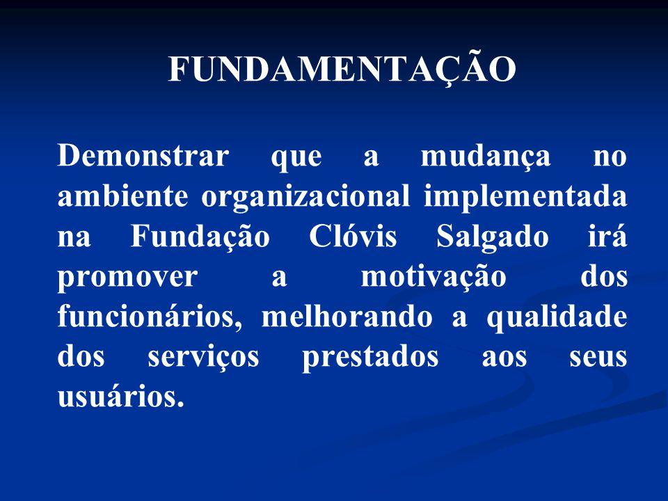 FUNDAMENTAÇÃO Demonstrar que a mudança no ambiente organizacional implementada na Fundação Clóvis Salgado irá promover a motivação dos funcionários, m