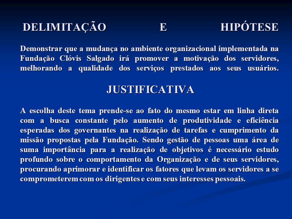 DELIMITAÇÃO E HIPÓTESE Demonstrar que a mudança no ambiente organizacional implementada na Fundação Clóvis Salgado irá promover a motivação dos servid