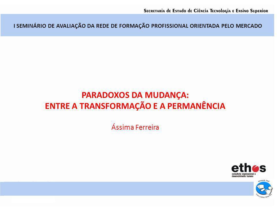 I SEMINÁRIO DE AVALIAÇÃO DA REDE DE FORMAÇÃO PROFISSIONAL ORIENTADA PELO MERCADO PARADOXOS DA MUDANÇA: ENTRE A TRANSFORMAÇÃO E A PERMANÊNCIA Ássima Fe