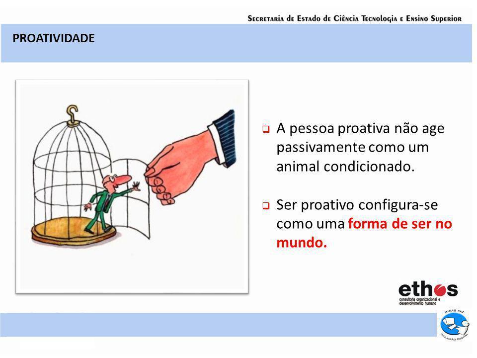 A pessoa proativa não age passivamente como um animal condicionado. Ser proativo configura-se como uma forma de ser no mundo. PROATIVIDADE