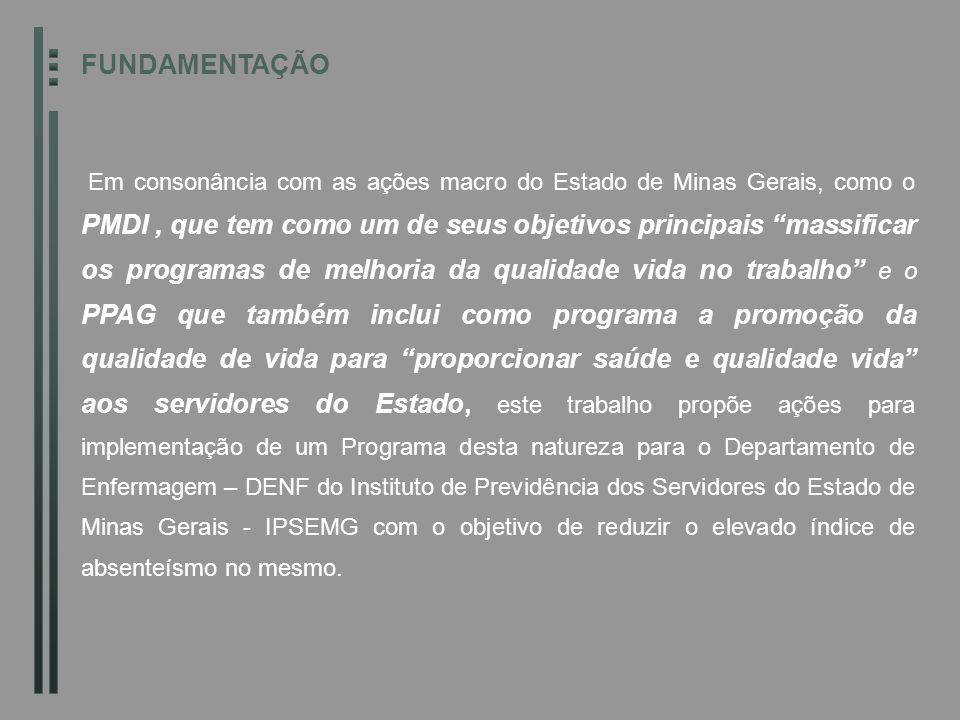 FUNDAMENTAÇÃO Em consonância com as ações macro do Estado de Minas Gerais, como o PMDI, que tem como um de seus objetivos principais massificar os pro