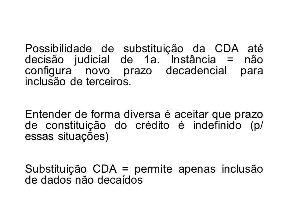 Possibilidade de substituição da CDA até decisão judicial de 1a.