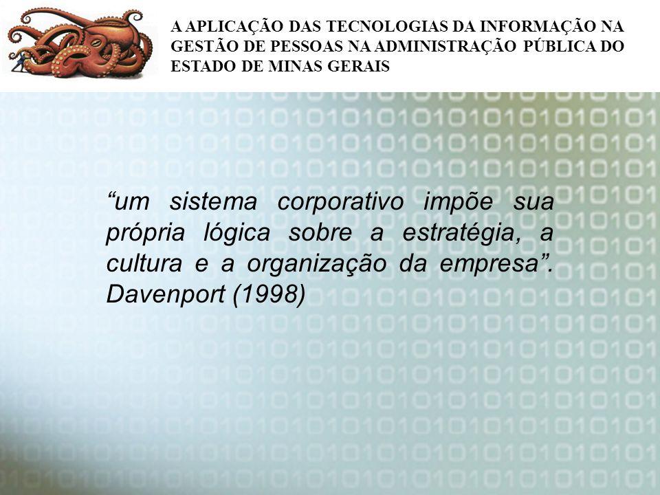 um sistema corporativo impõe sua própria lógica sobre a estratégia, a cultura e a organização da empresa. Davenport (1998) A APLICAÇÃO DAS TECNOLOGIAS