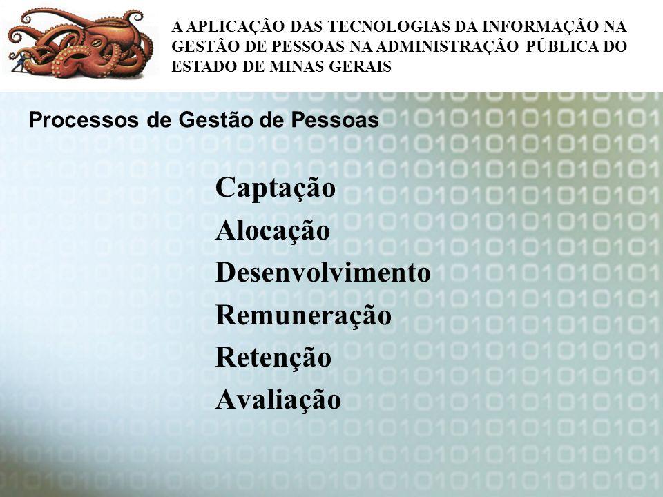Captação Alocação Desenvolvimento Remuneração Retenção Avaliação A APLICAÇÃO DAS TECNOLOGIAS DA INFORMAÇÃO NA GESTÃO DE PESSOAS NA ADMINISTRAÇÃO PÚBLI