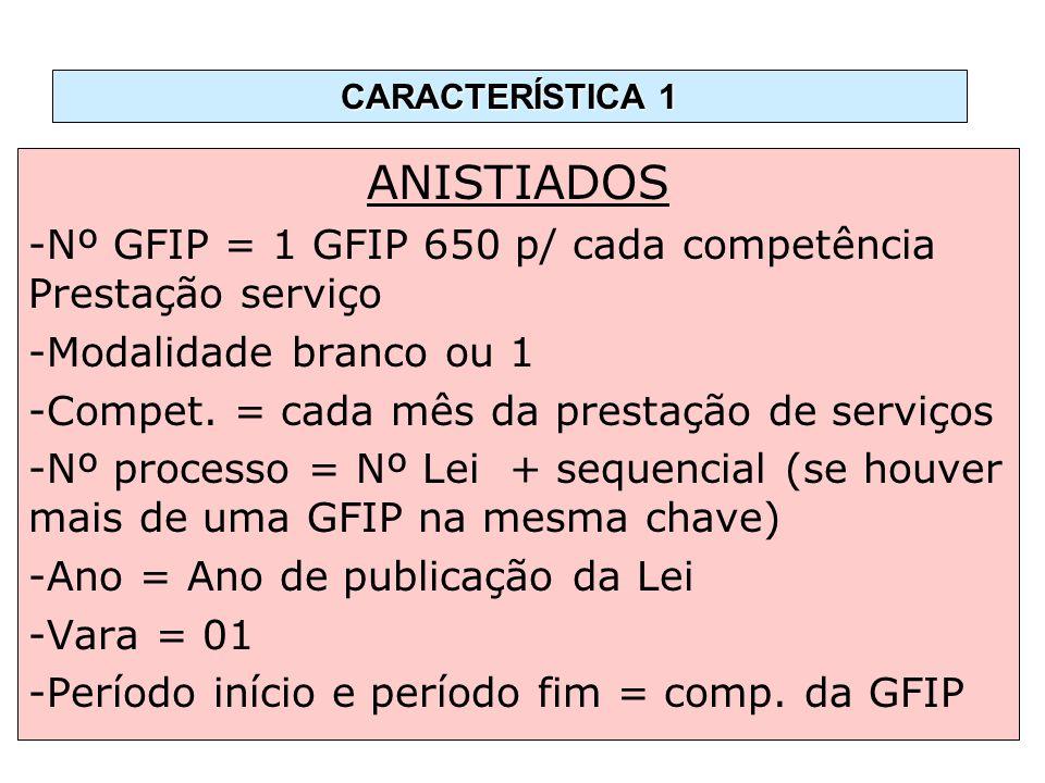 ANISTIADOS -Nº GFIP = 1 GFIP 650 p/ cada competência Prestação serviço -Modalidade branco ou 1 -Compet. = cada mês da prestação de serviços -Nº proces
