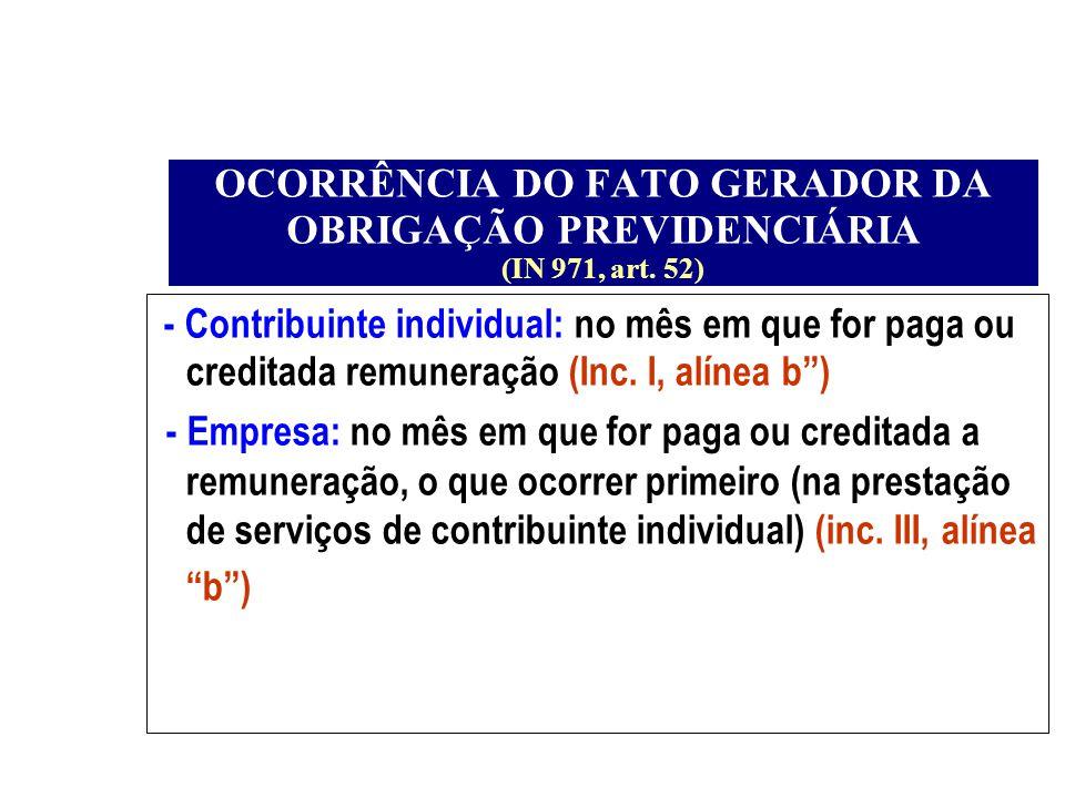 OCORRÊNCIA DO FATO GERADOR DA OBRIGAÇÃO PREVIDENCIÁRIA (IN 971, art. 52) - Contribuinte individual: no mês em que for paga ou creditada remuneração (I