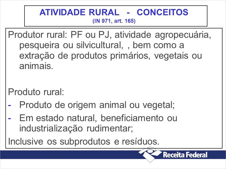 Produtor rural: PF ou PJ, atividade agropecuária, pesqueira ou silvicultural,, bem como a extração de produtos primários, vegetais ou animais. Produto