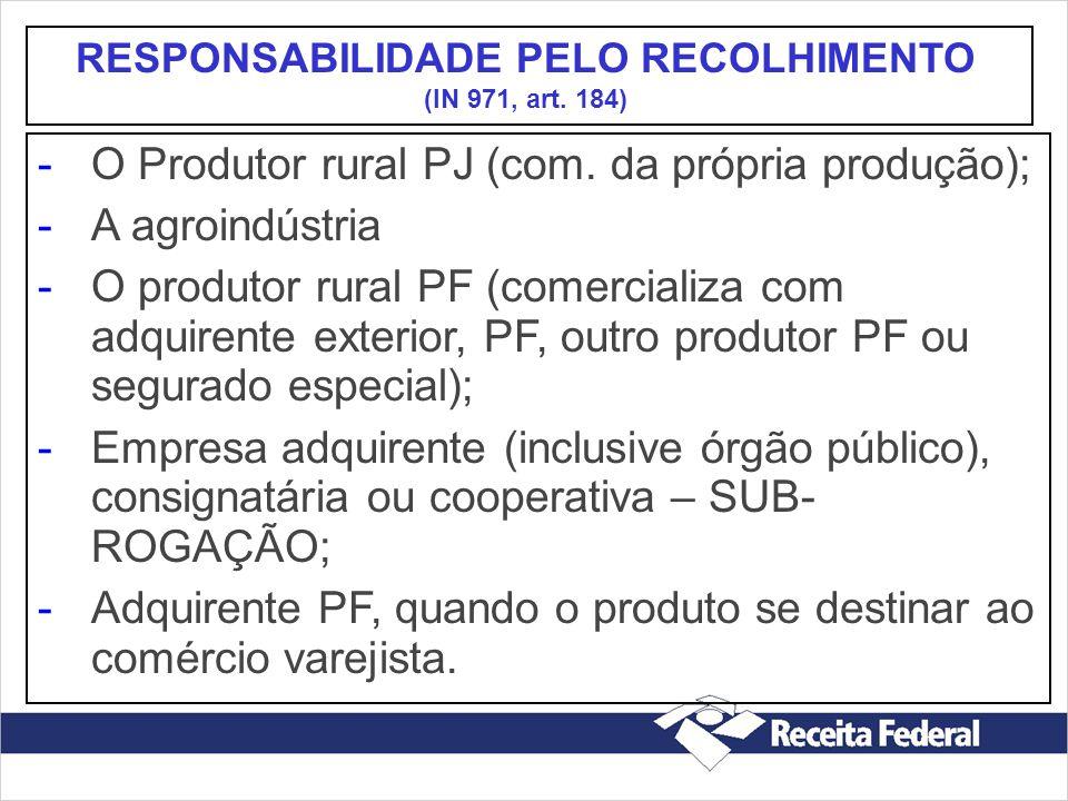 -O Produtor rural PJ (com. da própria produção); -A agroindústria -O produtor rural PF (comercializa com adquirente exterior, PF, outro produtor PF ou