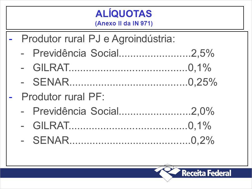 -Produtor rural PJ e Agroindústria: - Previdência Social.........................2,5% - GILRAT.........................................0,1% - SENAR...
