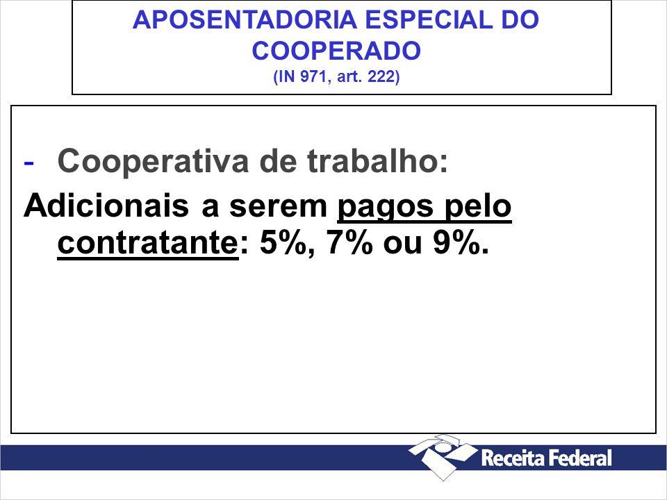 -Cooperativa de trabalho: Adicionais a serem pagos pelo contratante: 5%, 7% ou 9%. APOSENTADORIA ESPECIAL DO COOPERADO (IN 971, art. 222)