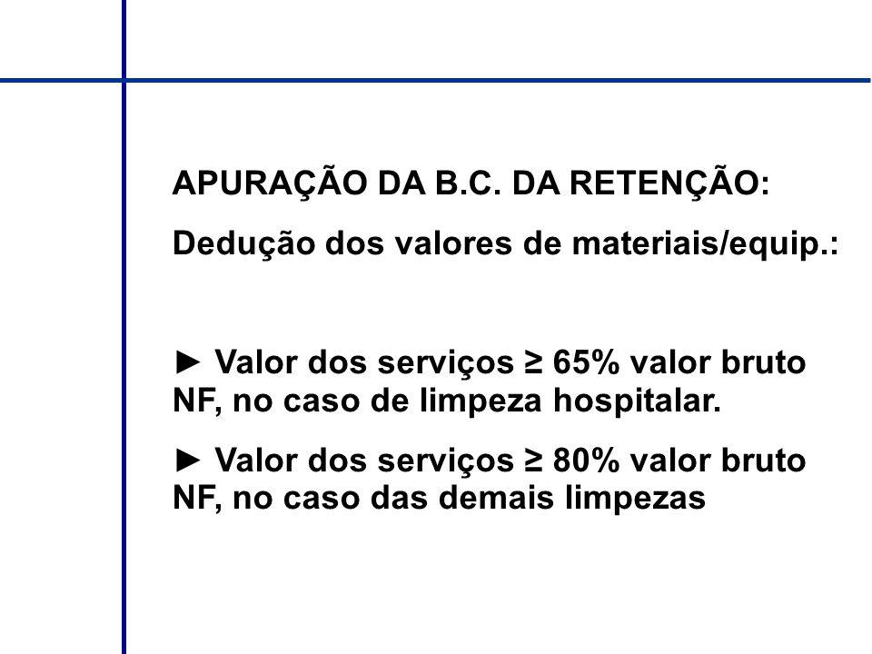 APURAÇÃO DA B.C. DA RETENÇÃO: Dedução dos valores de materiais/equip.: Valor dos serviços 65% valor bruto NF, no caso de limpeza hospitalar. Valor dos