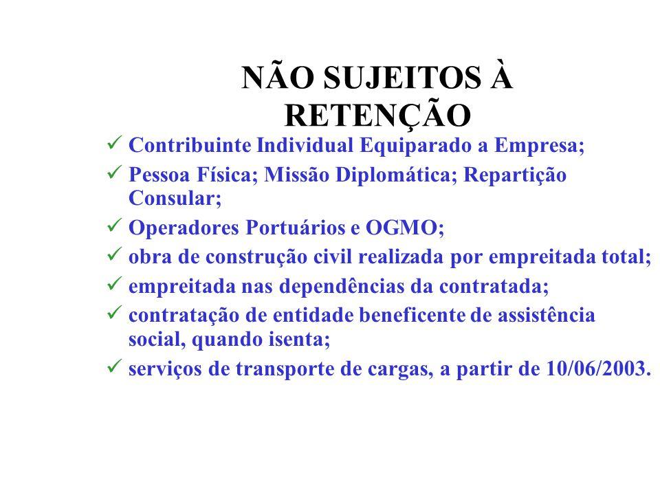 NÃO SUJEITOS À RETENÇÃO Contribuinte Individual Equiparado a Empresa; Pessoa Física; Missão Diplomática; Repartição Consular; Operadores Portuários e