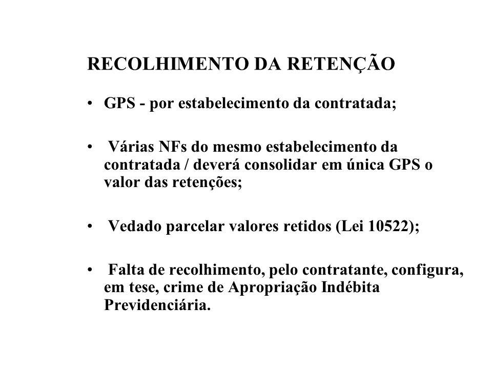 RECOLHIMENTO DA RETENÇÃO GPS - por estabelecimento da contratada; Várias NFs do mesmo estabelecimento da contratada / deverá consolidar em única GPS o