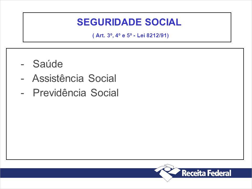 - Saúde - Assistência Social - Previdência Social SEGURIDADE SOCIAL ( Art. 3º, 4º e 5º - Lei 8212/91)