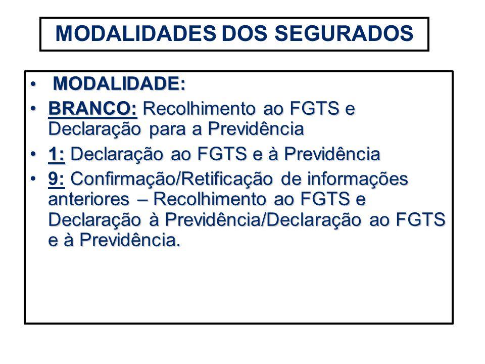 MODALIDADE: MODALIDADE: BRANCO: Recolhimento ao FGTS e Declaração para a PrevidênciaBRANCO: Recolhimento ao FGTS e Declaração para a Previdência 1:Dec
