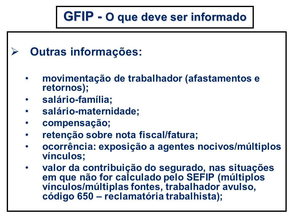 Outras informações: movimentação de trabalhador (afastamentos e retornos); salário-família; salário-maternidade; compensação; retenção sobre nota fisc