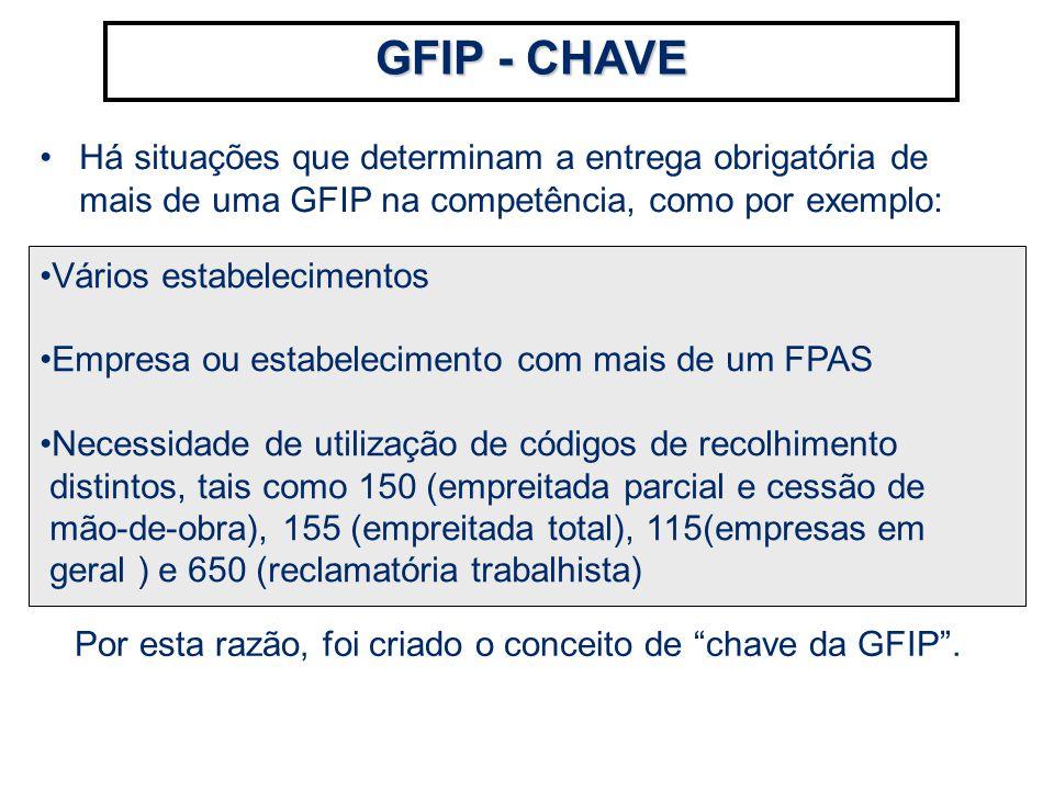 Há situações que determinam a entrega obrigatória de mais de uma GFIP na competência, como por exemplo: GFIP - CHAVE Vários estabelecimentos Empresa o