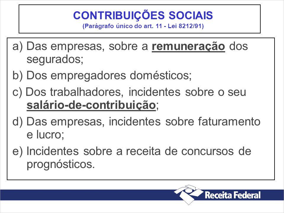 a) Das empresas, sobre a remuneração dos segurados; b) Dos empregadores domésticos; c) Dos trabalhadores, incidentes sobre o seu salário-de-contribuiç