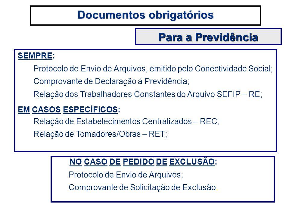SEMPRE: Protocolo de Envio de Arquivos, emitido pelo Conectividade Social; Comprovante de Declaração à Previdência; Relação dos Trabalhadores Constant