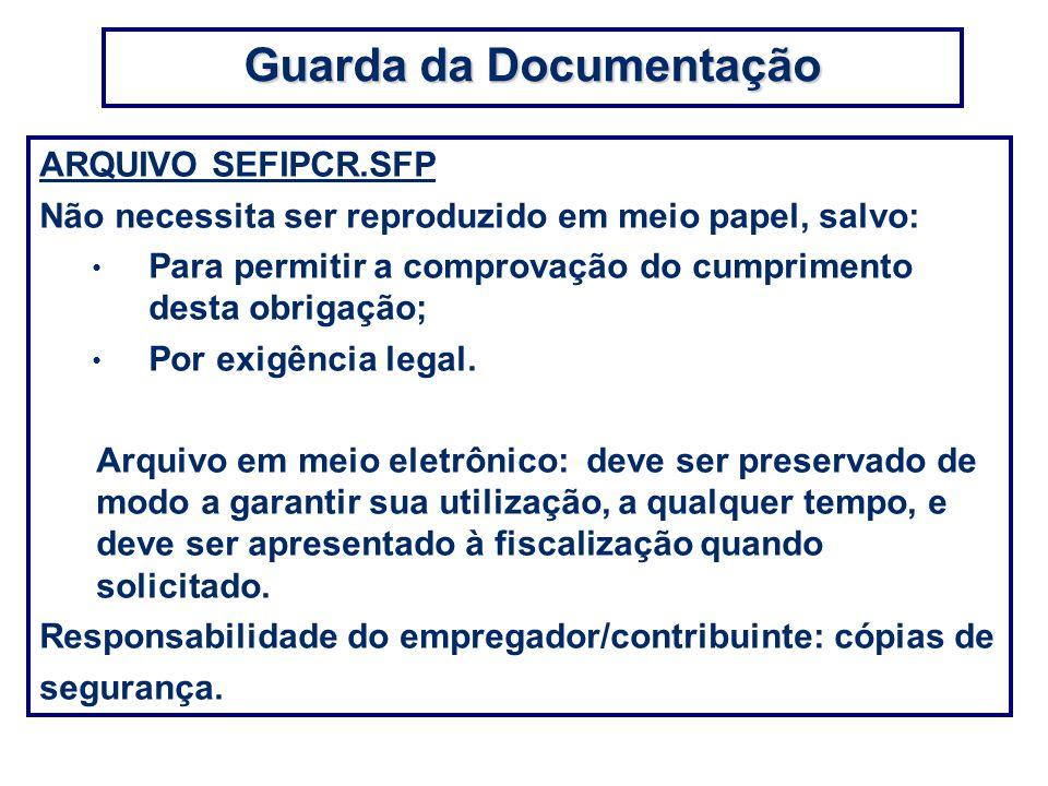 ARQUIVO SEFIPCR.SFP Não necessita ser reproduzido em meio papel, salvo: Para permitir a comprovação do cumprimento desta obrigação; Por exigência lega