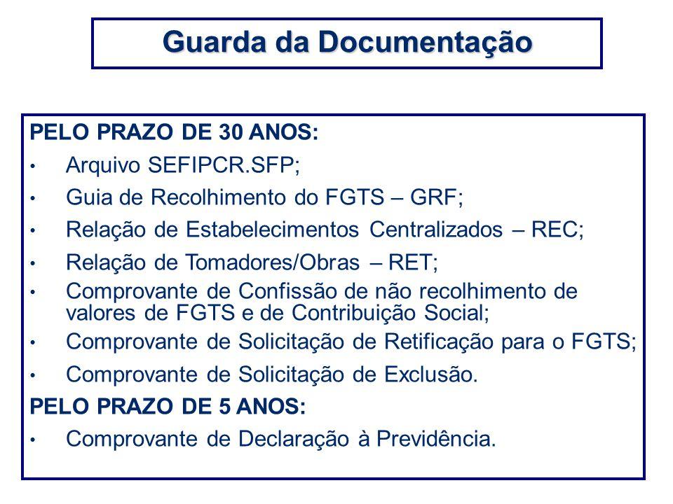 PELO PRAZO DE 30 ANOS: Arquivo SEFIPCR.SFP; Guia de Recolhimento do FGTS – GRF; Relação de Estabelecimentos Centralizados – REC; Relação de Tomadores/