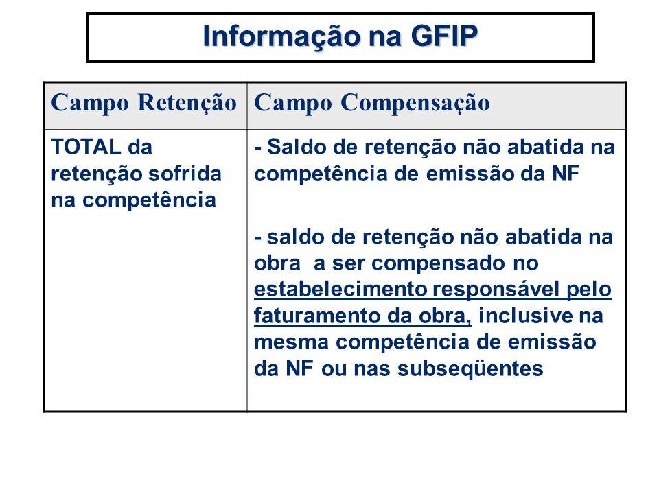 Informação na GFIP Campo RetençãoCampo Compensação TOTAL da retenção sofrida na competência - Saldo de retenção não abatida na competência de emissão