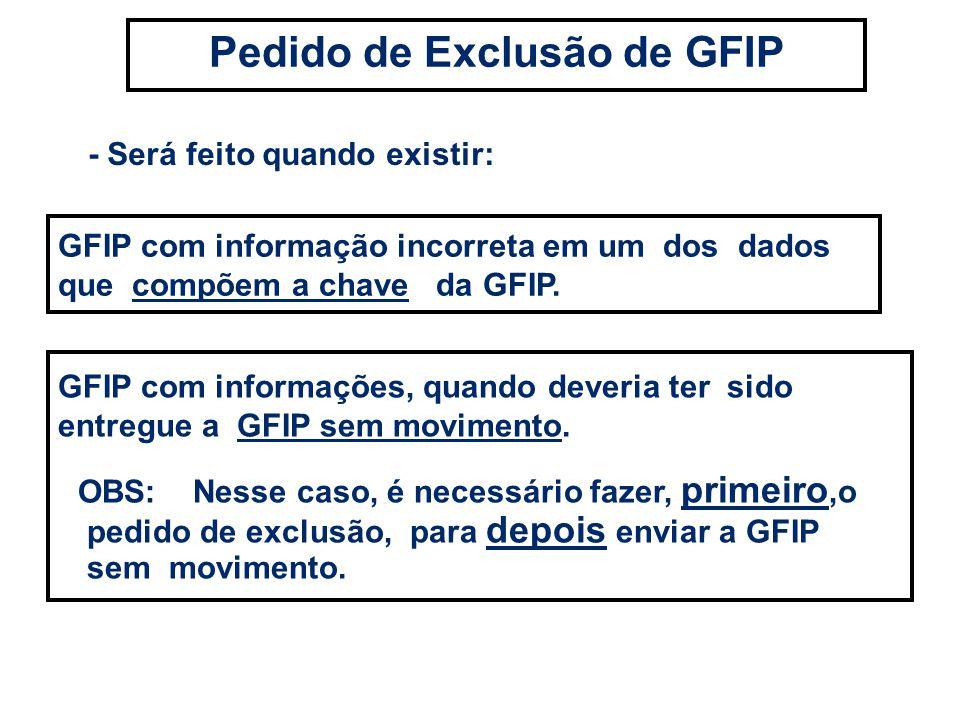 - Será feito quando existir: Pedido de Exclusão de GFIP GFIP com informações, quando deveria ter sido entregue a GFIP sem movimento. OBS: Nesse caso,