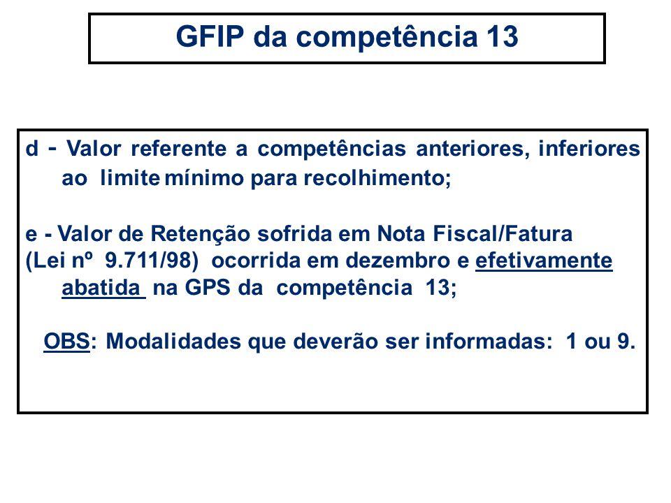 d - Valor referente a competências anteriores, inferiores ao limite mínimo para recolhimento; e - Valor de Retenção sofrida em Nota Fiscal/Fatura (Lei