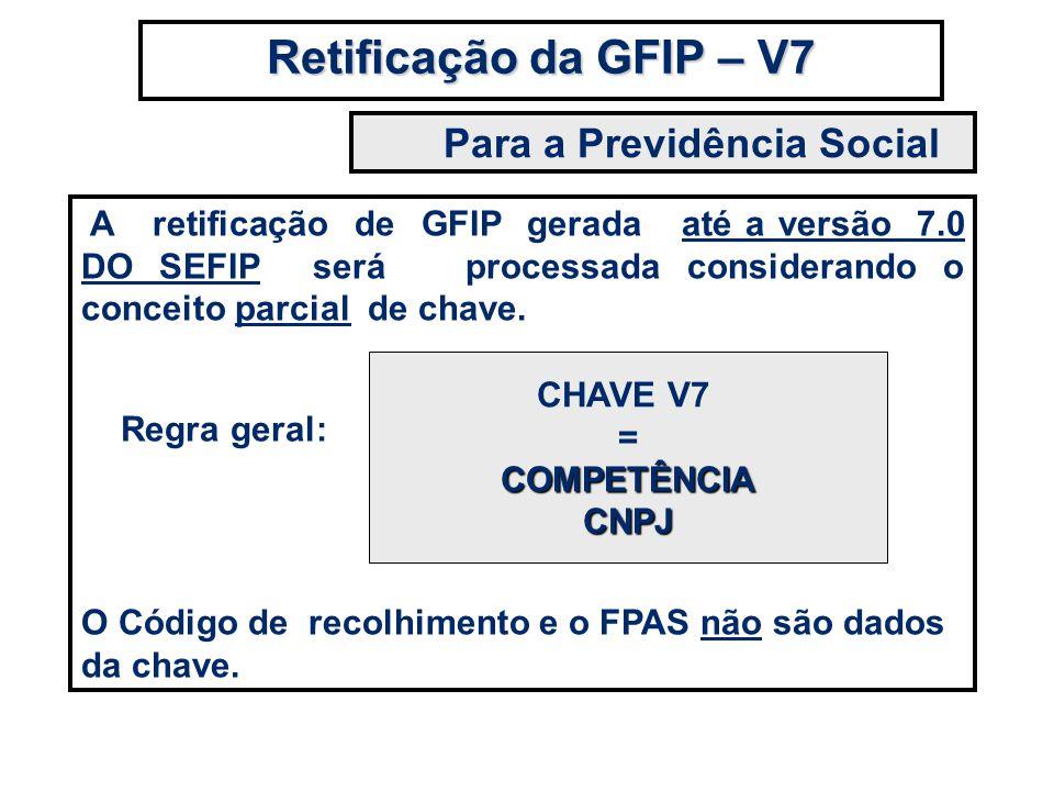 A retificação de GFIP gerada até a versão 7.0 DO SEFIP será processada considerando o conceito parcial de chave. O Código de recolhimento e o FPAS não