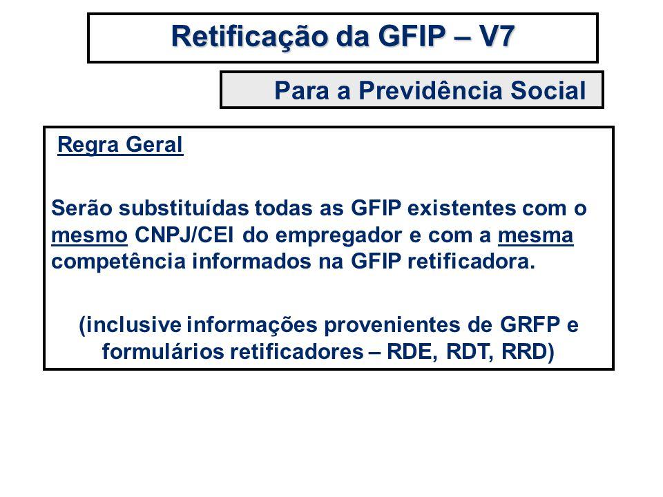 Regra Geral Serão substituídas todas as GFIP existentes com o mesmo CNPJ/CEI do empregador e com a mesma competência informados na GFIP retificadora.