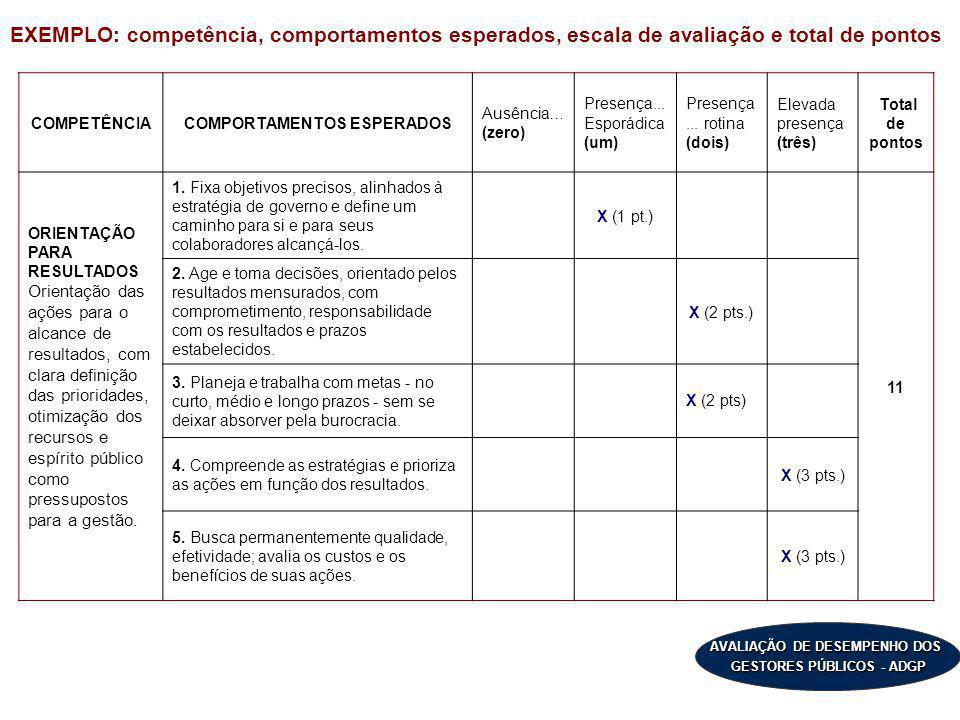 AVALIAÇÃO DE DESEMPENHO DOS GESTORES PÚBLICOS - ADGP COMPETÊNCIACOMPORTAMENTOS ESPERADOS Ausência… (zero) Presença... Esporádica (um) Presença... roti