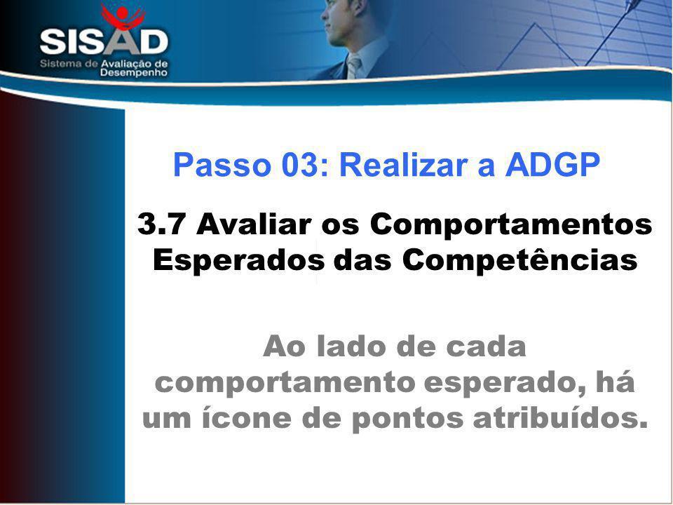 3.7 Avaliar os Comportamentos Esperados das Competências Ao lado de cada comportamento esperado, há um ícone de pontos atribuídos.