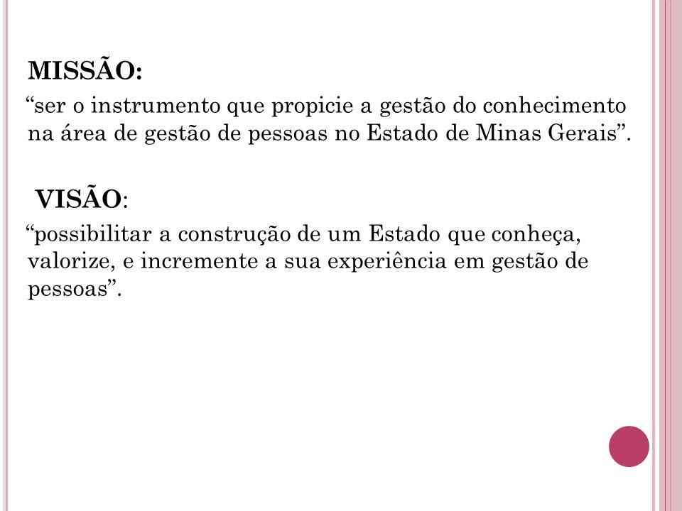 MISSÃO: ser o instrumento que propicie a gestão do conhecimento na área de gestão de pessoas no Estado de Minas Gerais.